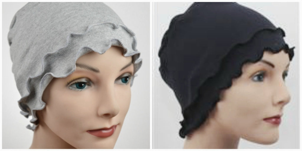 Cozy Fringe - 2 pack - Organic Cotton- Gray & Black - Hello Courage | Chemo Hats - Cancer Caps - Cancer Scarves - Headcovers - Cancer Beanies - Headwear for Hair Loss - Gifts for  Cancer Patients with Hair Loss - Alopecia
