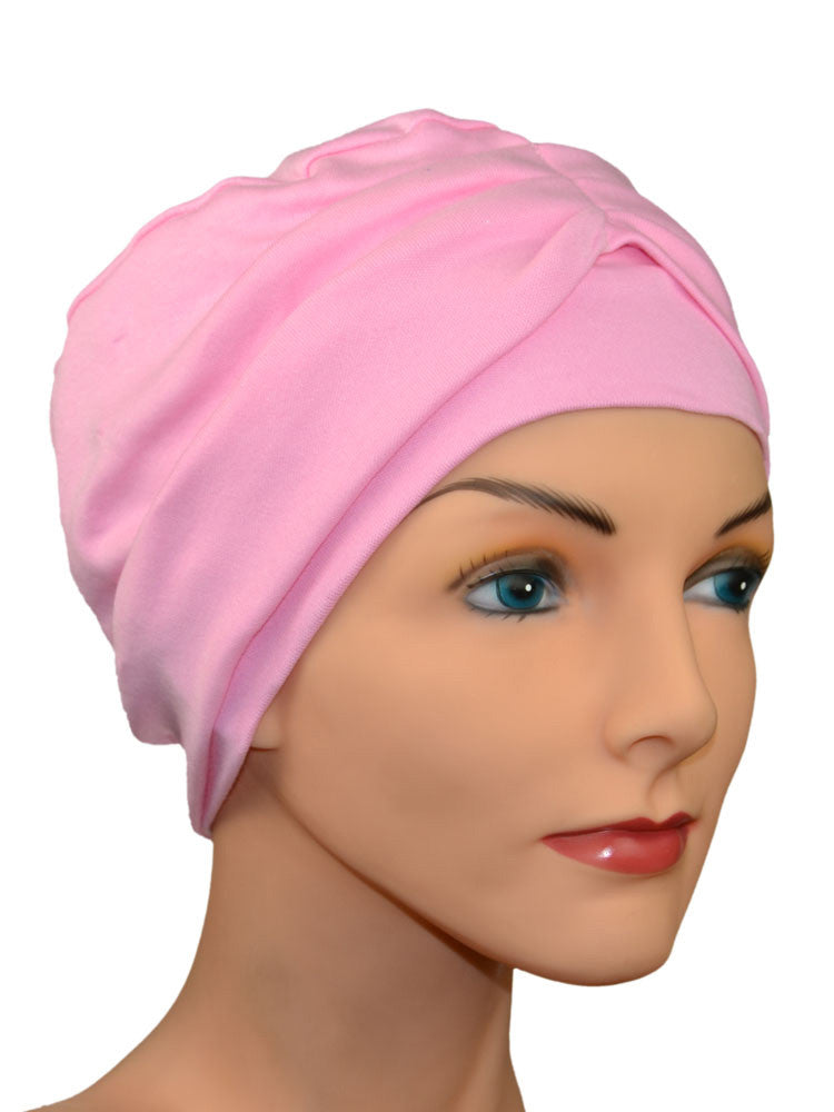 2 piece Chemo Cap including headband - in Pink