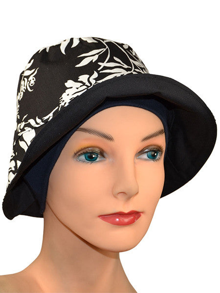 Sun Bucket Hat....Black & White - REVERSIBLE - with free headband! - Hello Courage | Chemo Hats - Cancer Caps - Cancer Scarves - Headcovers - Cancer Beanies - Headwear for Hair Loss - Gifts for  Cancer Patients with Hair Loss - Alopecia