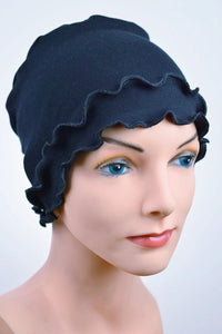 Cozy Fringe Cap in Navy Blue - Hello Courage | Chemo Hats - Cancer Caps - Cancer Scarves - Headcovers - Cancer Beanies - Headwear for Hair Loss - Gifts for  Cancer Patients with Hair Loss - Alopecia