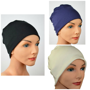 Cozy Collection - 3 hats - In Organic Luxury Bamboo Black, Navy Blue, Creamy White - Small / Medium & Large - Hello Courage | Chemo Hats - Cancer Caps - Cancer Scarves - Headcovers - Cancer Beanies - Headwear for Hair Loss - Gifts for  Cancer Patients with Hair Loss - Alopecia