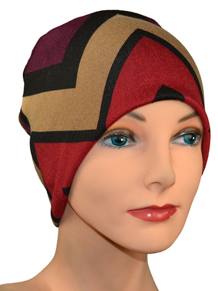 Cozy Collection in Zig Zag Pattern - great for Winter - Hello Courage | Chemo Hats - Cancer Caps - Cancer Scarves - Headcovers - Cancer Beanies - Headwear for Hair Loss - Gifts for  Cancer Patients with Hair Loss - Alopecia