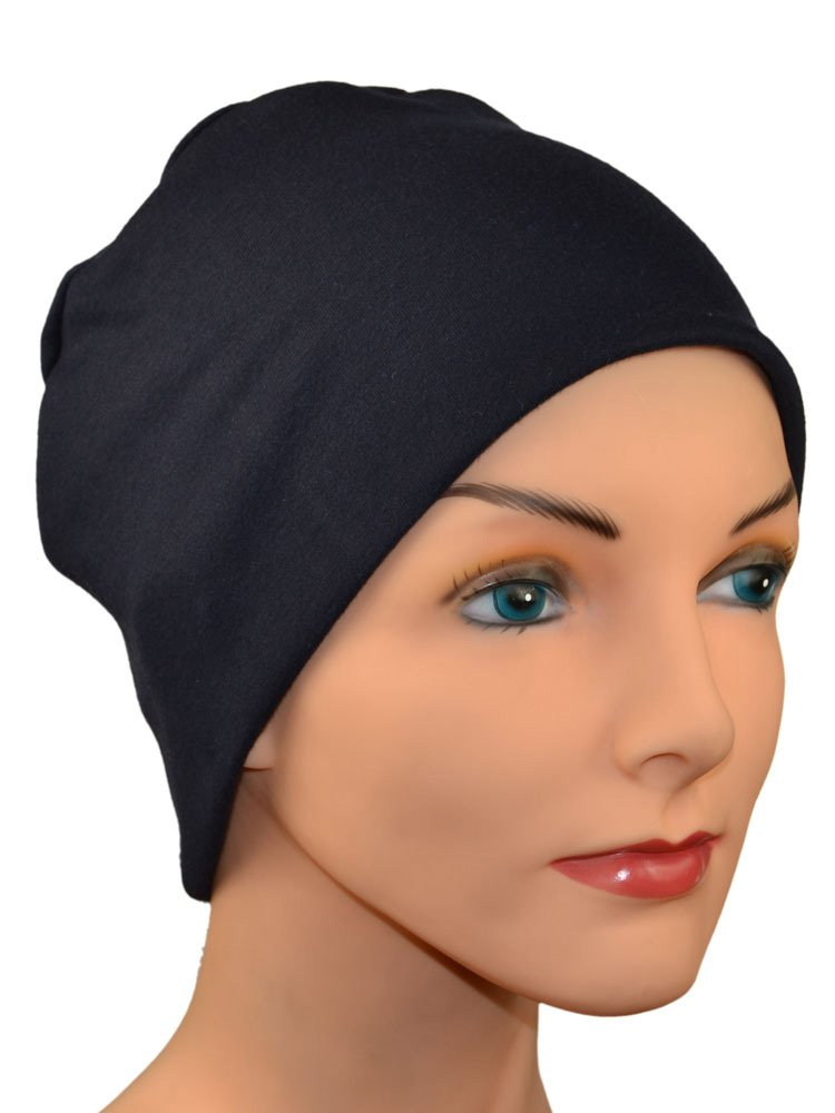 Cozy Collection Organic Bamboo in Black - Small Medium & Large - Hello Courage | Chemo Hats - Cancer Caps - Cancer Scarves - Headcovers - Cancer Beanies - Headwear for Hair Loss - Gifts for  Cancer Patients with Hair Loss - Alopecia