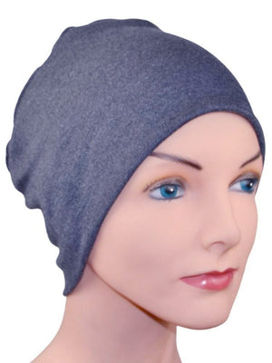 Cozy Collection - Organic Bamboo - Denim Blue Heather - Large - Hello Courage | Chemo Hats - Cancer Caps - Cancer Scarves - Headcovers - Cancer Beanies - Headwear for Hair Loss - Gifts for  Cancer Patients with Hair Loss - Alopecia