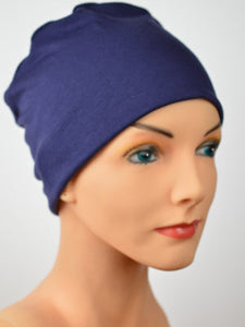 Cozy Collection -Organic Bamboo Navy Blue - Small / Medium Large - Hello Courage | Chemo Hats - Cancer Caps - Cancer Scarves - Headcovers - Cancer Beanies - Headwear for Hair Loss - Gifts for  Cancer Patients with Hair Loss - Alopecia