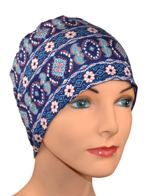 Cozy Collection - The Blues - Great with Denim - Luxury Organic Bamboo - Lightweight - Hello Courage | Chemo Hats - Cancer Caps - Cancer Scarves - Headcovers - Cancer Beanies - Headwear for Hair Loss - Gifts for  Cancer Patients with Hair Loss - Alopecia