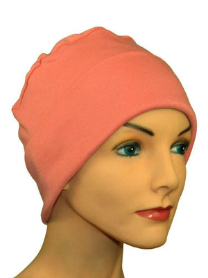 Cozy Collection Rollup - Coral Salmon - CUSTOMER FAVORITE - Hello Courage | Chemo Hats - Cancer Caps - Cancer Scarves - Headcovers - Cancer Beanies - Headwear for Hair Loss - Gifts for  Cancer Patients with Hair Loss - Alopecia
