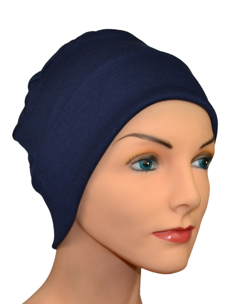 Cozy Collection Rollup -  Navy Blue Soft Cotton Knit - CUSTOMER FAVORITE - Hello Courage | Chemo Hats - Cancer Caps - Cancer Scarves - Headcovers - Cancer Beanies - Headwear for Hair Loss - Gifts for  Cancer Patients with Hair Loss - Alopecia