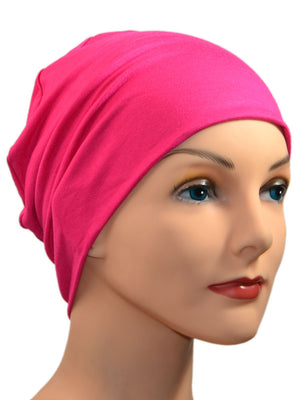 Cozy Collection - ORGANIC BAMBOO - Fuschia Hot Pink - Small / Medium & Large - Hello Courage | Chemo Hats - Cancer Caps - Cancer Scarves - Headcovers - Cancer Beanies - Headwear for Hair Loss - Gifts for  Cancer Patients with Hair Loss - Alopecia