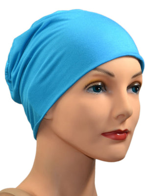 Cozy Collection - ORGANIC BAMBOO  - Bright Turquoise - Small / Medium & Large - Hello Courage | Chemo Hats - Cancer Caps - Cancer Scarves - Headcovers - Cancer Beanies - Headwear for Hair Loss - Gifts for  Cancer Patients with Hair Loss - Alopecia