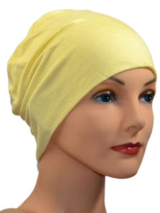 Cozy Collection - ORGANIC BAMBOO  - Pale Yellow - Small / Medium & Large - Hello Courage | Chemo Hats - Cancer Caps - Cancer Scarves - Headcovers - Cancer Beanies - Headwear for Hair Loss - Gifts for  Cancer Patients with Hair Loss - Alopecia