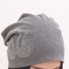 Budget Collection Gray Swans Rhinestone Slouchy Beanie