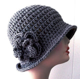 Designer Crochet Cloche -  Gray Handmade - Hello Courage | Chemo Hats - Cancer Caps - Cancer Scarves - Headcovers - Cancer Beanies - Headwear for Hair Loss - Gifts for  Cancer Patients with Hair Loss - Alopecia