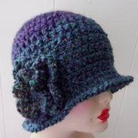 Designer Crochet Cloche - Blue Purple Variegated Handmade