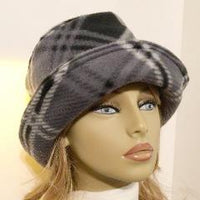 Fleece Cloche Super Soft Hat - Black Gray Plaid - SO POPULAR