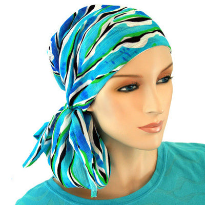 Designer Collection - 24 inch ties - Blue Streams - Hello Courage | Chemo Hats - Cancer Caps - Cancer Scarves - Headcovers - Cancer Beanies - Headwear for Hair Loss - Gifts for  Cancer Patients with Hair Loss - Alopecia