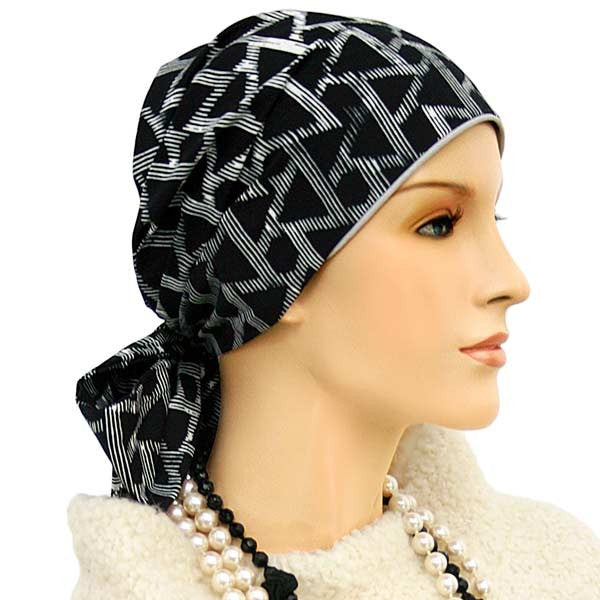 Easy Tie Collection - 24 inch ties - Black & White - COOL - Hello Courage | Chemo Hats - Cancer Caps - Cancer Scarves - Headcovers - Cancer Beanies - Headwear for Hair Loss - Gifts for  Cancer Patients with Hair Loss - Alopecia