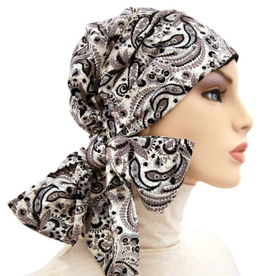 Summer Easy Tie Collection - 24 inch ties - Black & White Paisley - Hello Courage | Chemo Hats - Cancer Caps - Cancer Scarves - Headcovers - Cancer Beanies - Headwear for Hair Loss - Gifts for  Cancer Patients with Hair Loss - Alopecia