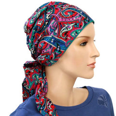 Easy Tie Scarf- Paisley Fuschia, Blue, Teal, Red - COOL COTTON - Hello Courage | Chemo Hats - Cancer Caps - Cancer Scarves - Headcovers - Cancer Beanies - Headwear for Hair Loss - Gifts for  Cancer Patients with Hair Loss - Alopecia