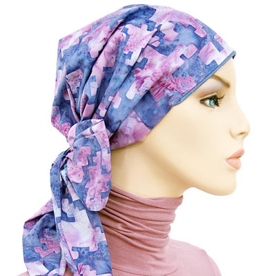 Summer Easy Tie Collection - 24 inch ties -  Purple & Blue - Hello Courage | Chemo Hats - Cancer Caps - Cancer Scarves - Headcovers - Cancer Beanies - Headwear for Hair Loss - Gifts for  Cancer Patients with Hair Loss - Alopecia