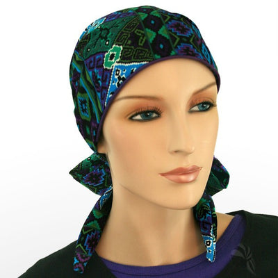 Summer Easy Tie Collection...24 inch ties..COTTON - .Blue, Black, Purple, touch of green! CUTE! - Hello Courage | Chemo Hats - Cancer Caps - Cancer Scarves - Headcovers - Cancer Beanies - Headwear for Hair Loss - Gifts for  Cancer Patients with Hair Loss - Alopecia
