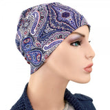 Activity Collection -Denim Blue Paisley - Hello Courage | Chemo Hats - Cancer Caps - Cancer Scarves - Headcovers - Cancer Beanies - Headwear for Hair Loss - Gifts for  Cancer Patients with Hair Loss - Alopecia