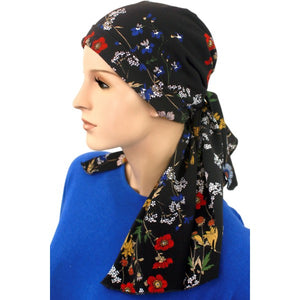 Designer Collection -  Pre-Tied Scarf - Black & Garden