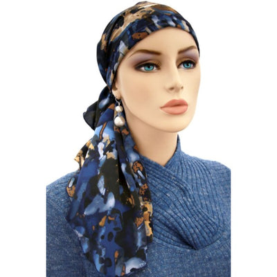 Designer Collection -  Pre-Tied Scarf - Blues & Browns