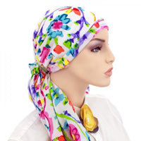 Designer Pre-Tied Scarf Collection - No Tie Scarf - Colorful Summer Garden
