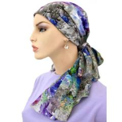 Designer Collection - No Tie Pre-Tied Scarf - Purple Bouquet - STUNNING