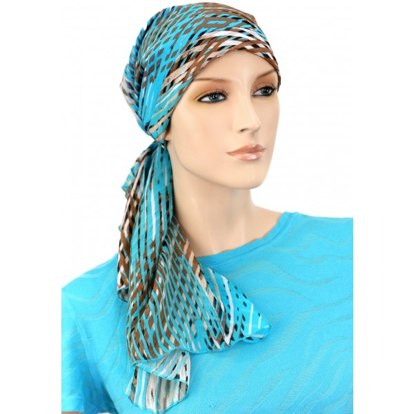Designer Collection Long Pre Tied  Scarf ...Caribbean Skies - Hello Courage | Chemo Hats - Cancer Caps - Cancer Scarves - Headcovers - Cancer Beanies - Headwear for Hair Loss - Gifts for  Cancer Patients with Hair Loss - Alopecia
