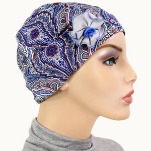 1920s Collection - Pretty Paisley - Blue Gray - Hello Courage | Chemo Hats - Cancer Caps - Cancer Scarves - Headcovers - Cancer Beanies - Headwear for Hair Loss - Gifts for  Cancer Patients with Hair Loss - Alopecia