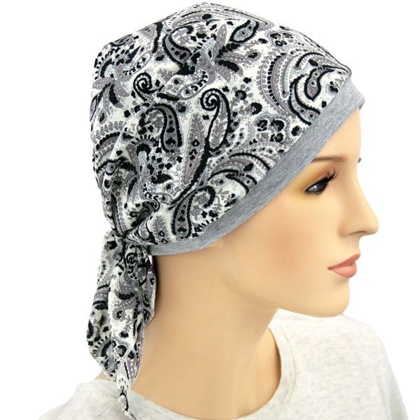 LIGHTWEIGHT COOL Collection - Black and Gray Paisley - Hello Courage | Chemo Hats - Cancer Caps - Cancer Scarves - Headcovers - Cancer Beanies - Headwear for Hair Loss - Gifts for  Cancer Patients with Hair Loss - Alopecia