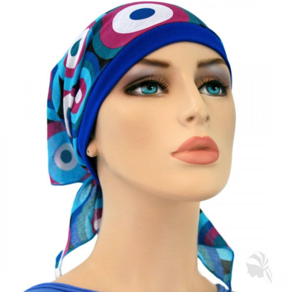 Summer Scarf Collection - Circles of Blues and Purple - Hello Courage | Chemo Hats - Cancer Caps - Cancer Scarves - Headcovers - Cancer Beanies - Headwear for Hair Loss - Gifts for  Cancer Patients with Hair Loss - Alopecia