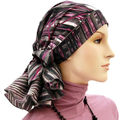 Designer Collection -  Pre-Tied - Fuschia Pink, Gray, Black