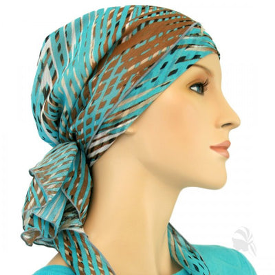 Designer Collection Pre Tied  Scarf ...Carribbean Skies - Hello Courage | Chemo Hats - Cancer Caps - Cancer Scarves - Headcovers - Cancer Beanies - Headwear for Hair Loss - Gifts for  Cancer Patients with Hair Loss - Alopecia