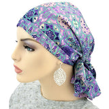 Designer Pre-Tied Scarf -  Shades of Violet - BEST SELLER - Hello Courage | Chemo Hats - Cancer Caps - Cancer Scarves - Headcovers - Cancer Beanies - Headwear for Hair Loss - Gifts for  Cancer Patients with Hair Loss - Alopecia