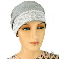 Sleep Cap - Gray and Lace