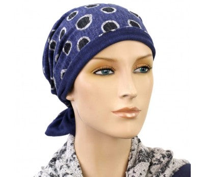 Designer Collection - Reversible - Denim and Dot - BESTSELLER - Hello Courage | Chemo Hats - Cancer Caps - Cancer Scarves - Headcovers - Cancer Beanies - Headwear for Hair Loss - Gifts for  Cancer Patients with Hair Loss - Alopecia