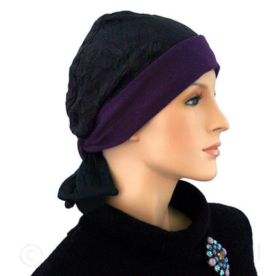 Reversible Collection - Purple and Black - BESTSELLER - Hello Courage | Chemo Hats - Cancer Caps - Cancer Scarves - Headcovers - Cancer Beanies - Headwear for Hair Loss - Gifts for  Cancer Patients with Hair Loss - Alopecia