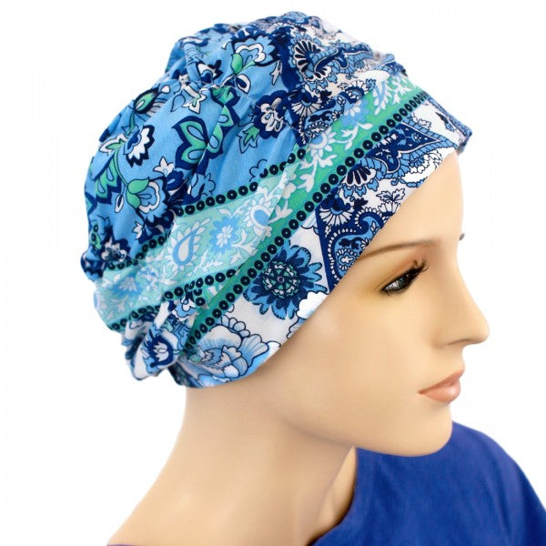 Gathered in Glory - Designer - Carribbean Waters - Hello Courage | Chemo Hats - Cancer Caps - Cancer Scarves - Headcovers - Cancer Beanies - Headwear for Hair Loss - Gifts for  Cancer Patients with Hair Loss - Alopecia