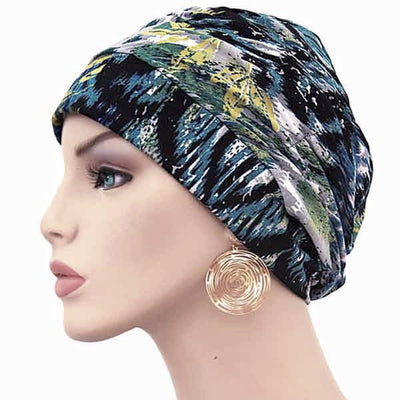 Designer  - Gathered in Glory - Lagoon Waters - POPULAR - Hello Courage | Chemo Hats - Cancer Caps - Cancer Scarves - Headcovers - Cancer Beanies - Headwear for Hair Loss - Gifts for  Cancer Patients with Hair Loss - Alopecia