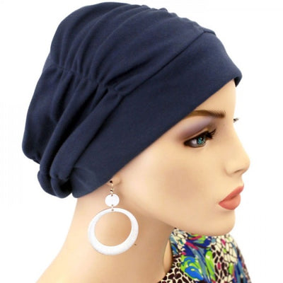 Gathered in Glory Collection - Navy - Hello Courage | Chemo Hats - Cancer Caps - Cancer Scarves - Headcovers - Cancer Beanies - Headwear for Hair Loss - Gifts for  Cancer Patients with Hair Loss - Alopecia