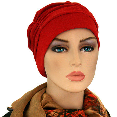 Gathered in Glory - True Red - Hello Courage | Chemo Hats - Cancer Caps - Cancer Scarves - Headcovers - Cancer Beanies - Headwear for Hair Loss - Gifts for  Cancer Patients with Hair Loss - Alopecia