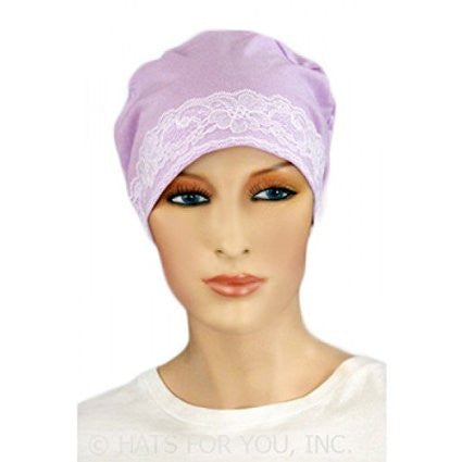 Sleep Cap -Purple and Lace - Hello Courage | Chemo Hats - Cancer Caps - Cancer Scarves - Headcovers - Cancer Beanies - Headwear for Hair Loss - Gifts for  Cancer Patients with Hair Loss - Alopecia