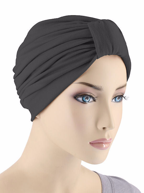 Budget Collection in Turban Style -  Black - Hello Courage | Chemo Hats - Cancer Caps - Cancer Scarves - Headcovers - Cancer Beanies - Headwear for Hair Loss - Gifts for  Cancer Patients with Hair Loss - Alopecia