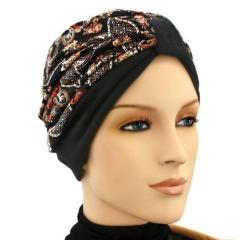 Turban Two Tone Black, Rust, Tan, Gray - New for Fall