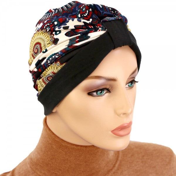 Turban Two Tone Black, Multicolor - NEW - Hello Courage | Chemo Hats - Cancer Caps - Cancer Scarves - Headcovers - Cancer Beanies - Headwear for Hair Loss - Gifts for  Cancer Patients with Hair Loss - Alopecia