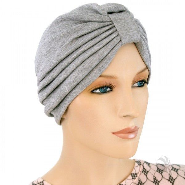 Turban Style -  Sweatshirt Gray - Hello Courage | Chemo Hats - Cancer Caps - Cancer Scarves - Headcovers - Cancer Beanies - Headwear for Hair Loss - Gifts for  Cancer Patients with Hair Loss - Alopecia