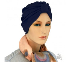 Budget Collection in Turban Style -  Navy - Hello Courage | Chemo Hats - Cancer Caps - Cancer Scarves - Headcovers - Cancer Beanies - Headwear for Hair Loss - Gifts for  Cancer Patients with Hair Loss - Alopecia